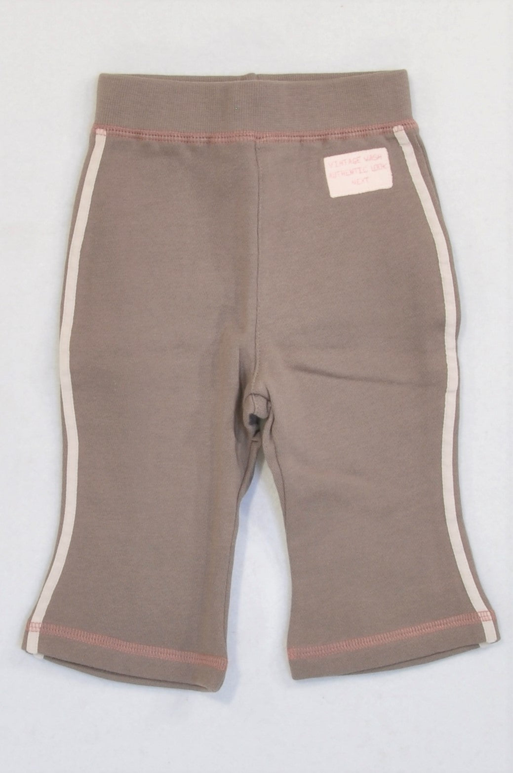 New Next Brown & Pink Trim CUTE Pants Girls 3-6 months