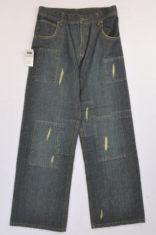New Next Dark Wide Leg Distressed Jeans Boys 15-16 years