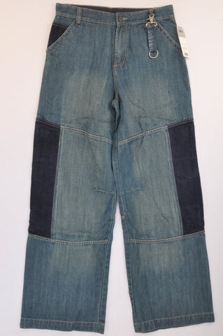 New Next Blue Corduroy Detail Wide Leg Denim Jeans Boys 15-16 years