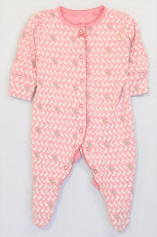 Next Pink Beige Bunny Rabbit Grey Detail Snap Onesie Girls N-B