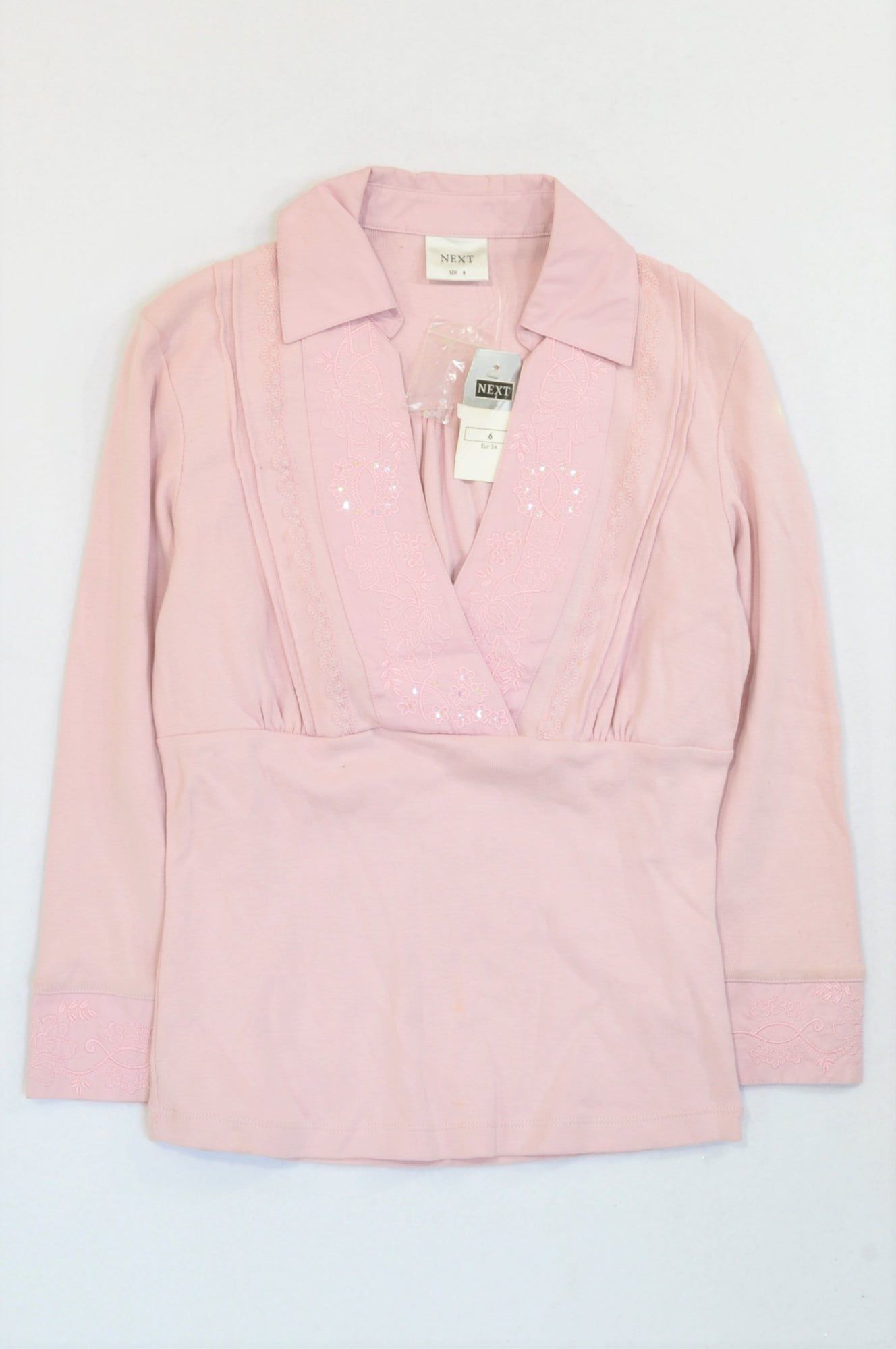New Next Pink Embroidered Lapel Shirt Women Size 6