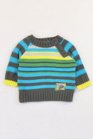 Woolworths Grey Trim Blue & Green Stripe Knit Jersey Boys 0-3 months