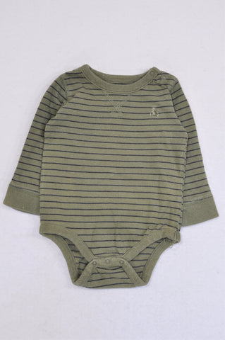 GAP Olive & Navy Stripe Long Sleeve Baby Grow Boys 6-12 months
