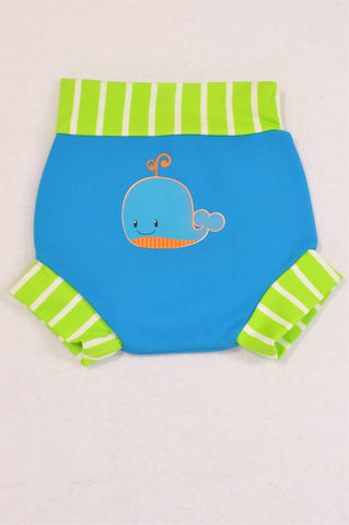 Mothercare Blue Whale Green Trim Swim Nappy Boys 6-9 months