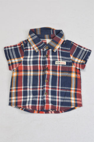 Naartjie Navy, Red & Orange Plaid Collared Shirt Boys 3-6 months