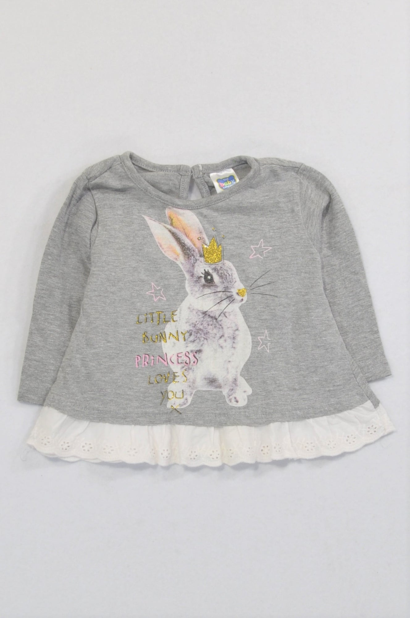 Ackermans Grey Princess Bunny Lace Trim T-shirt Girls 3-6 months