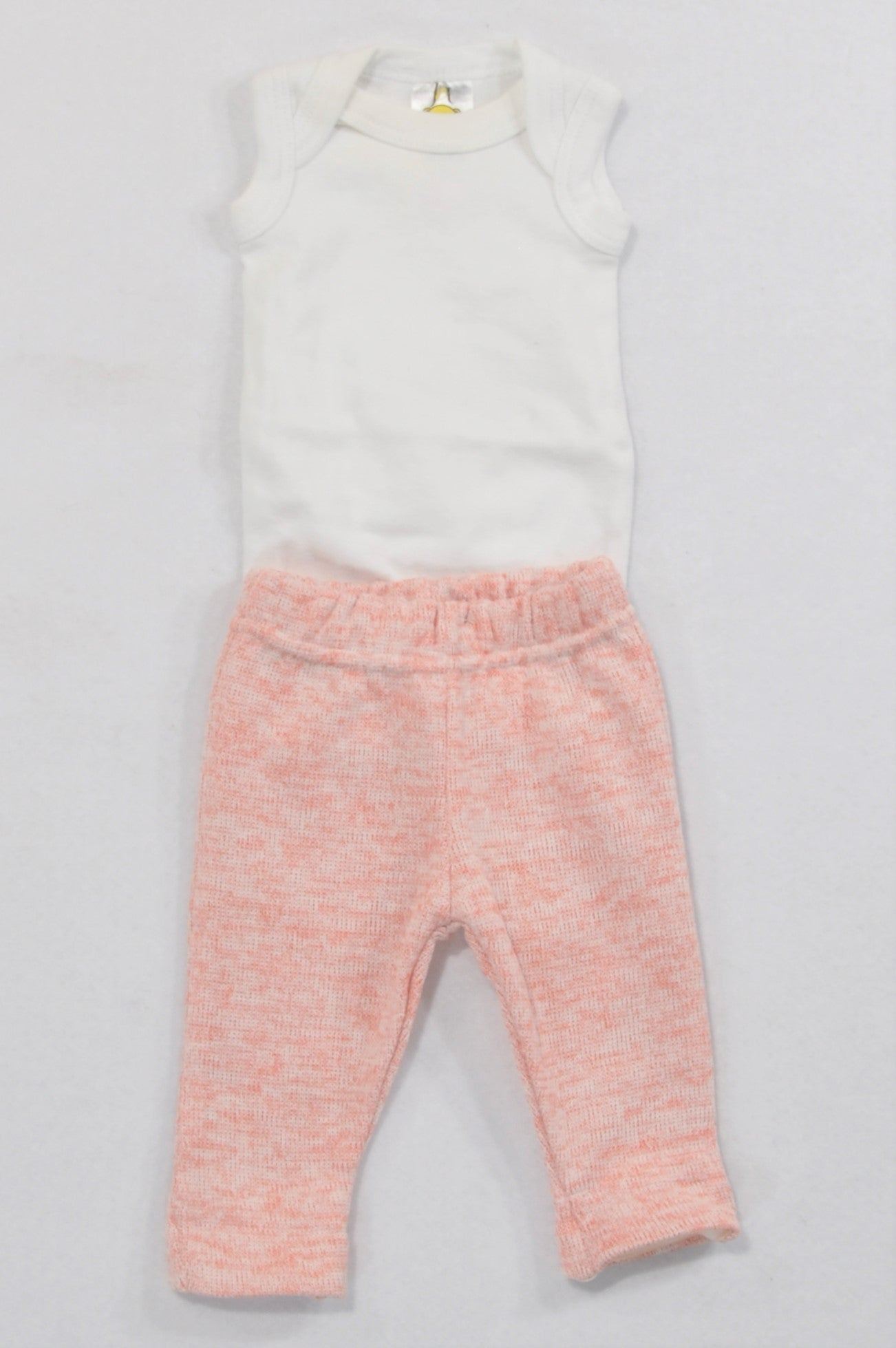 Jet White Baby Grow & Heathered Knit Leggings Outfit Girls N-B