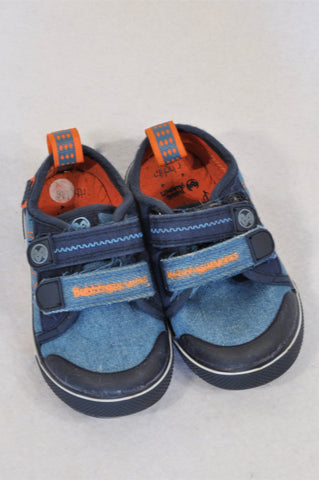 Bubblegummers Size 4 Denim Orange Trim Shoes Boys 12-18 months