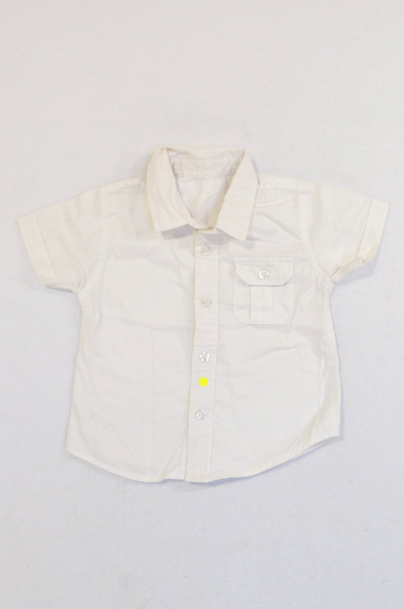 Woolworths Basic White Short Sleeve Collared Shirt Boys 6-12 months