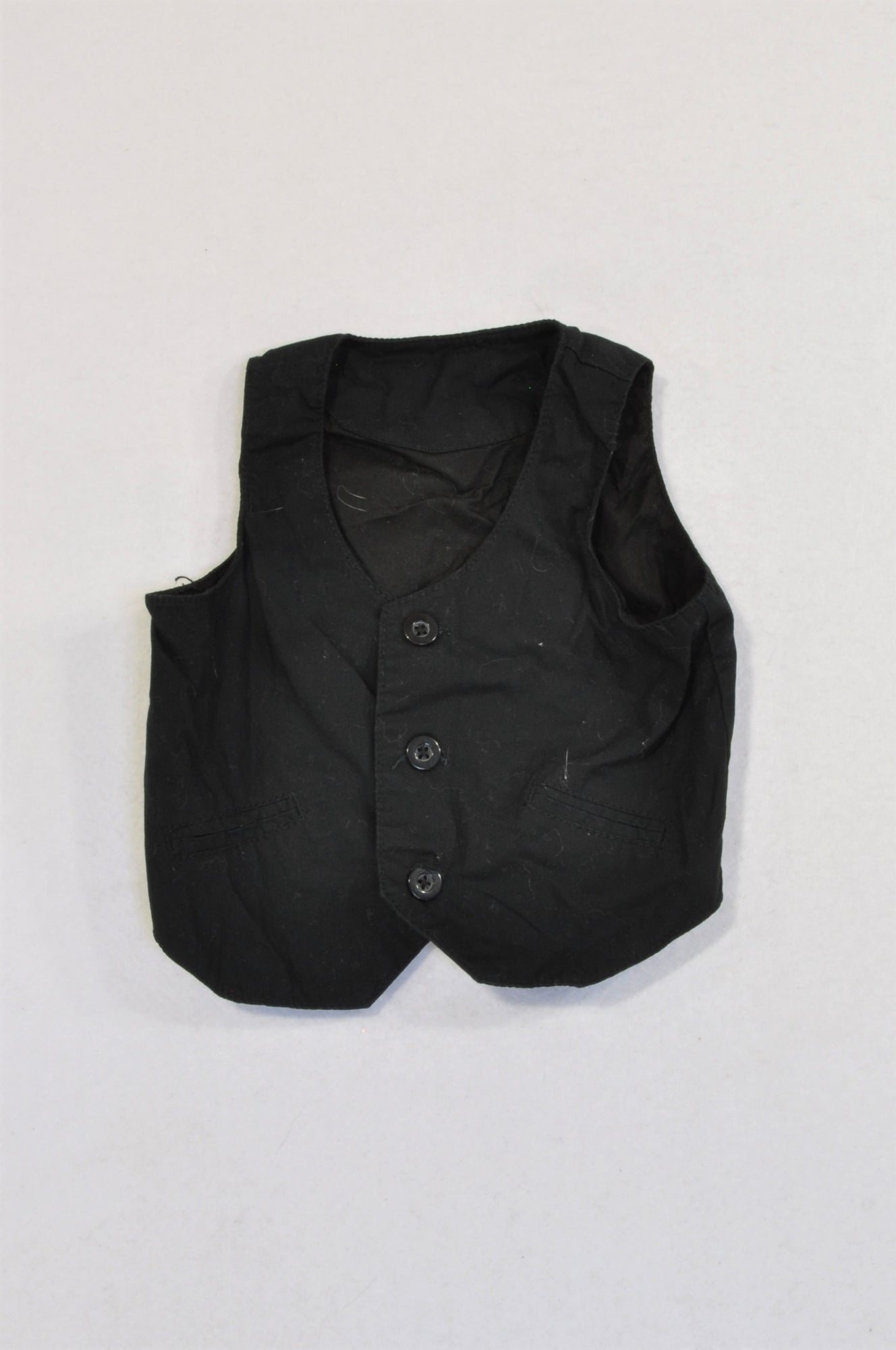 Woolworths Basic Black Button Up Waist Coat Boys 6-12 months