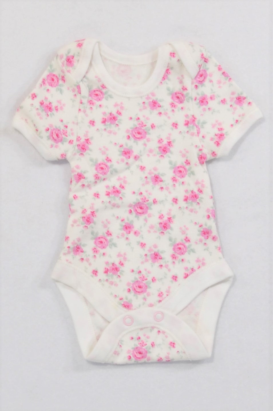 Unbranded Tiny Pink Rose Baby Grow Girls N-B