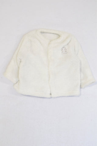Woolworths White Fleece Snap Jacket Unisex 3-6 months