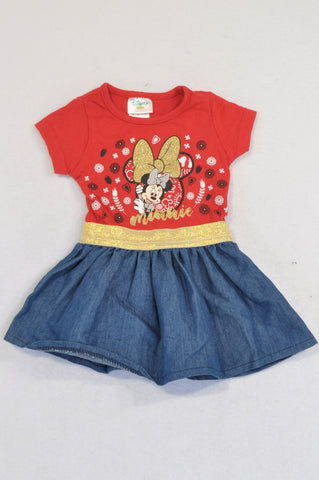 Disney Red Minnie Mouse Gold Bow Denim Skirted Dress Girls 0-3 months