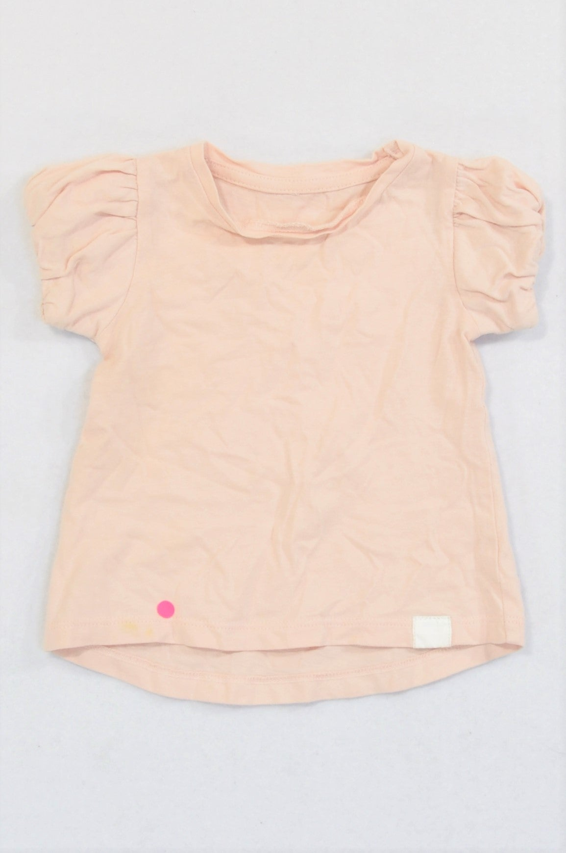 Woolworths Dusty Pink Bubble Sleeve T-shirt Girls 3-6 months