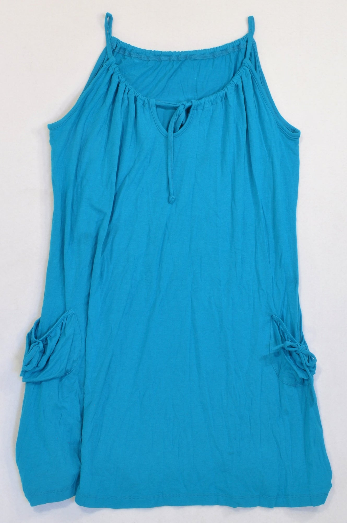 Woolworths Teal Pocket Tie Tunic Tank Top Women Size M