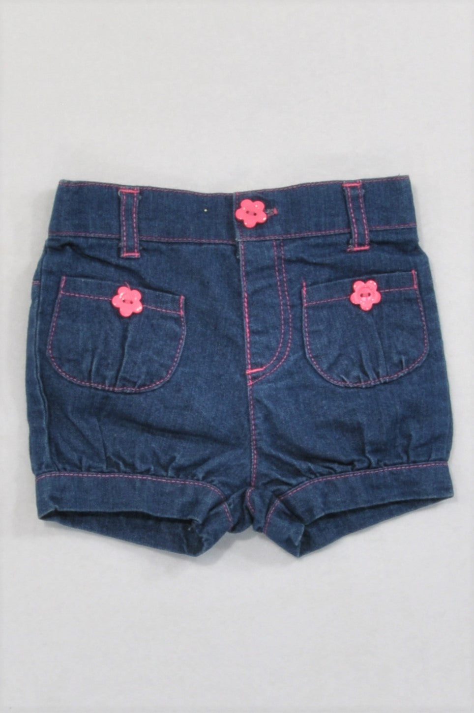 Ackermans Denim Pink Button Shorts Girls 0-3 months