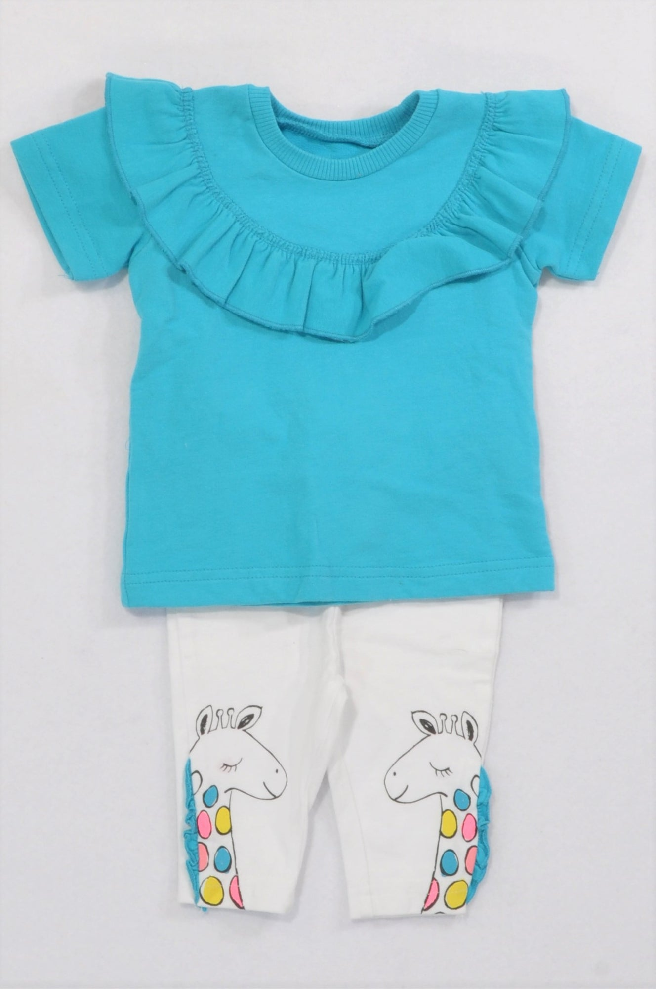Woolworths Blue Frill Top & Giraffe Leggings Outfit Girls 0-3 months