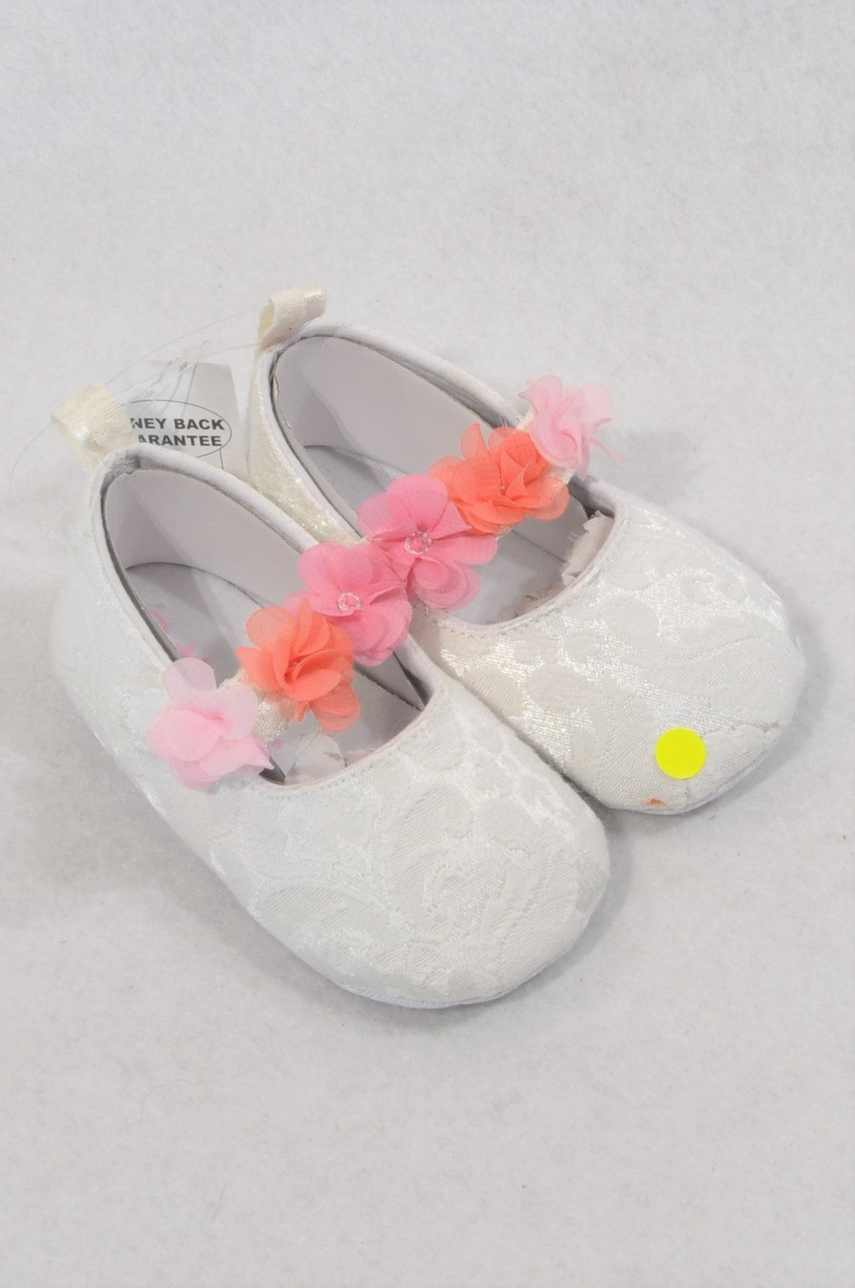 New Pep Size 3 Lace Overlay Pink Flower Shoes Girls 9-12 months