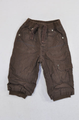Mothercare Brown Lined Cuffed Cargo Pants Unisex 9-12 months