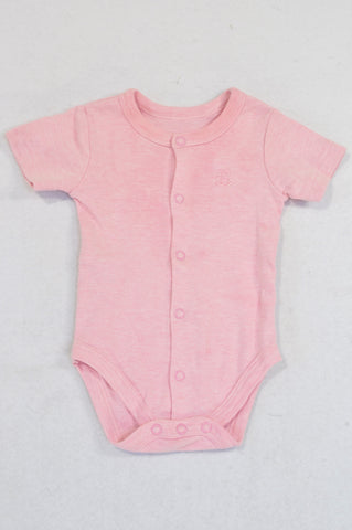 Woolworths Basic Pink Teddy Baby Grow Girls 0-3 months