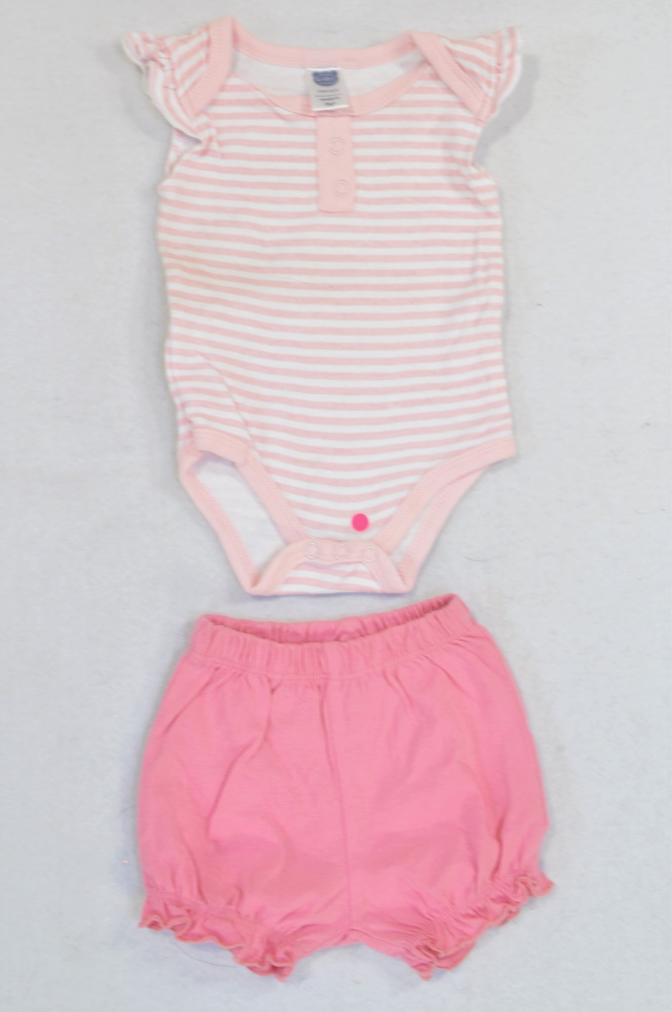 Ackermans Pink & White Striped Ruffle Sleeve Baby Grow & Pink Bubble Shorts Outfit Girls N-B