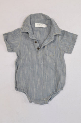 Petit Love Grey Pin Stitch Denim Baby Grow Unisex 6-12 months