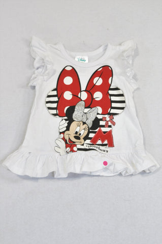 Disney Minnie Mouse I Love Bows Ruffle T-shirt Girls 3-6 months