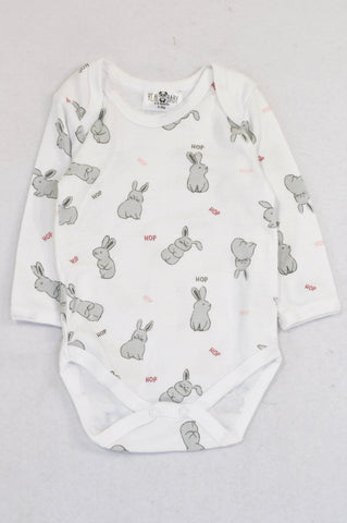 New Pick 'n Pay White Bunny Hop Baby Grow Unisex 3-6 months