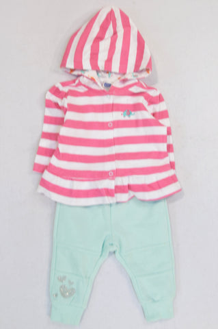 Ackermans Pink Striped Ellie Hooded Snap Cardigan & Aqua Track Pants Outfit Girls 3-6 months