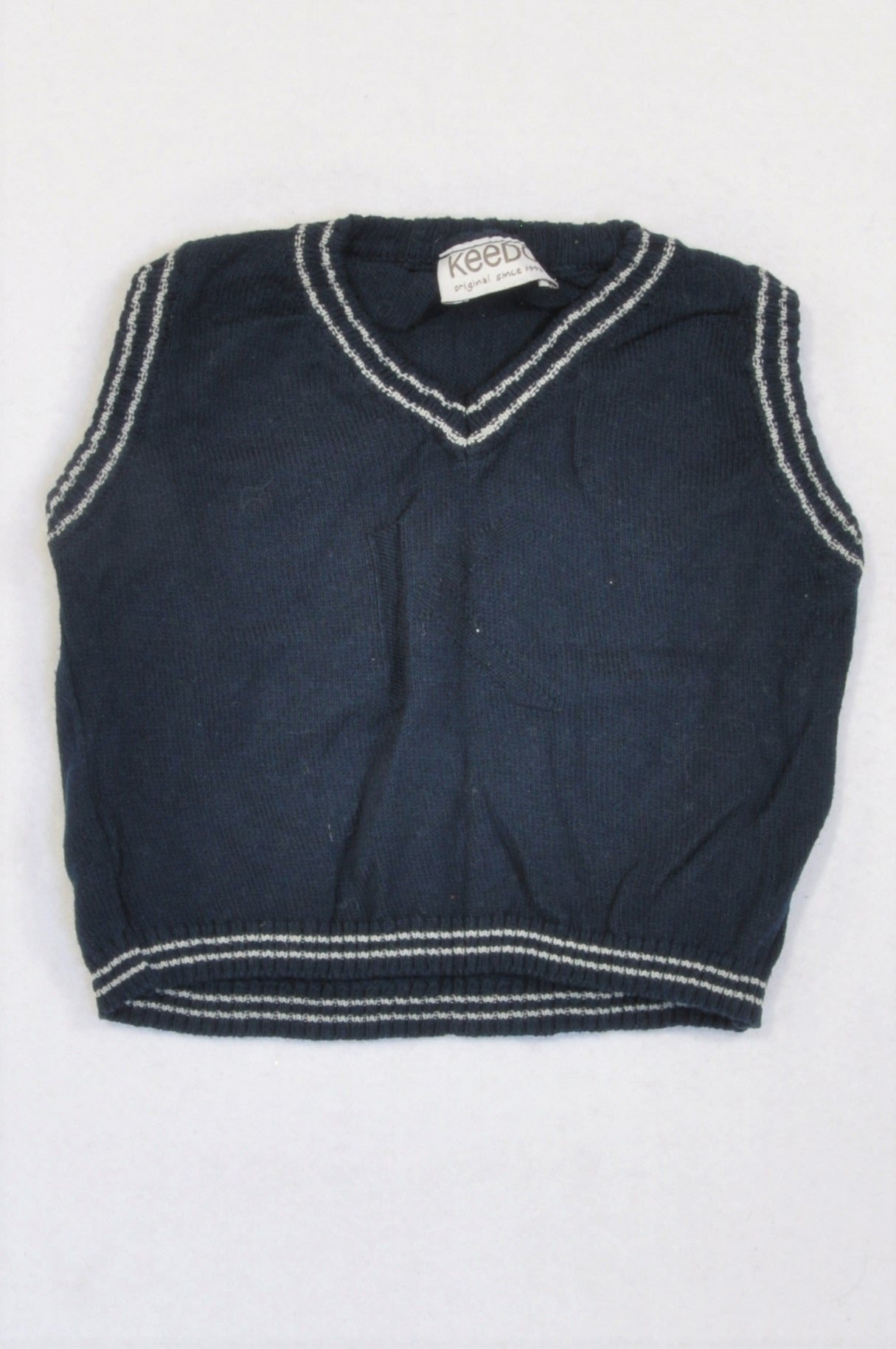 Keedo Navy Knit White Trim Body Warmer Boys 3-6 months