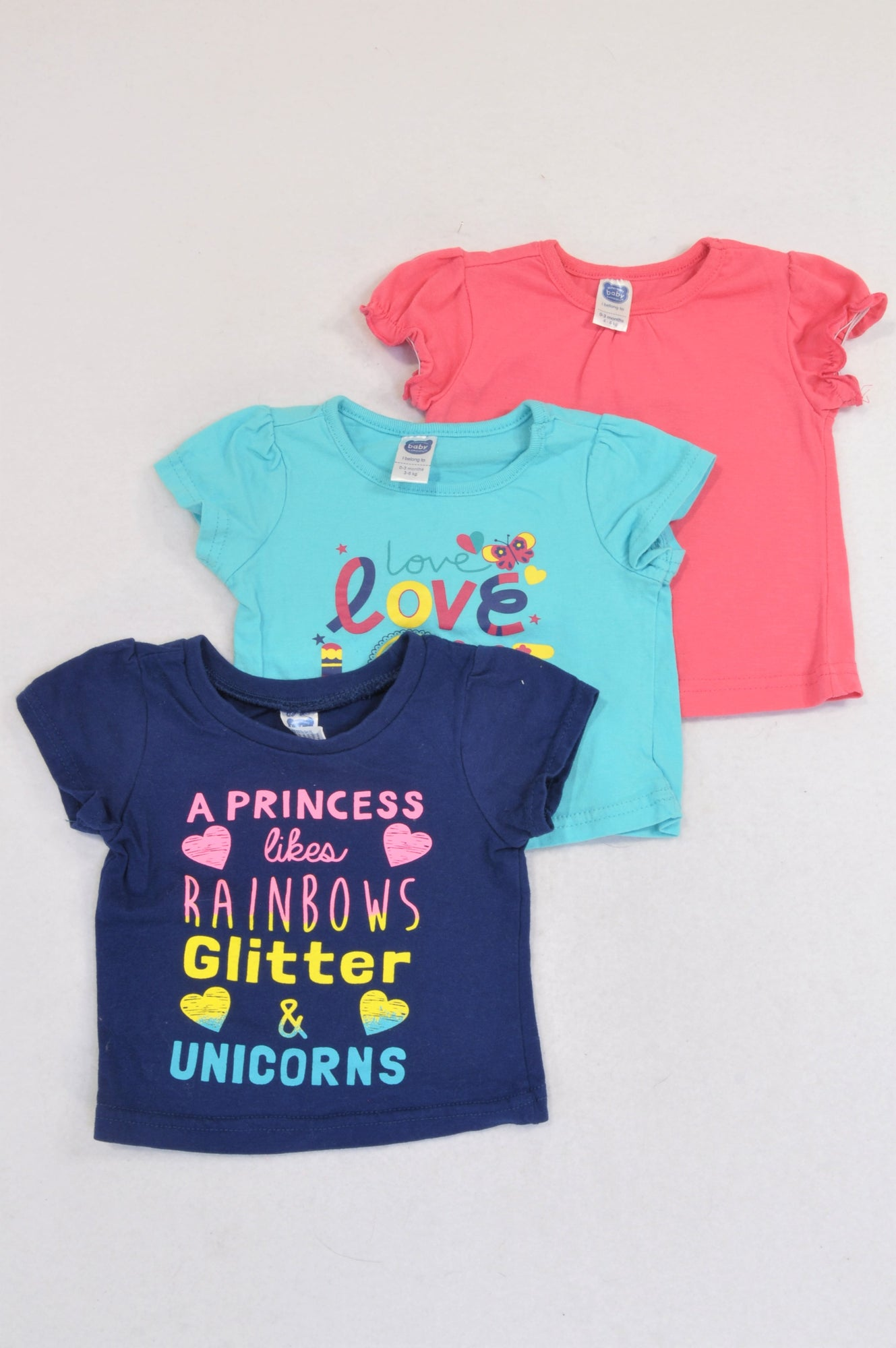 Ackermans 3 Pack Cerise, Navy Princess and Turquoise Summer T-Shirts Girls 0-3 months