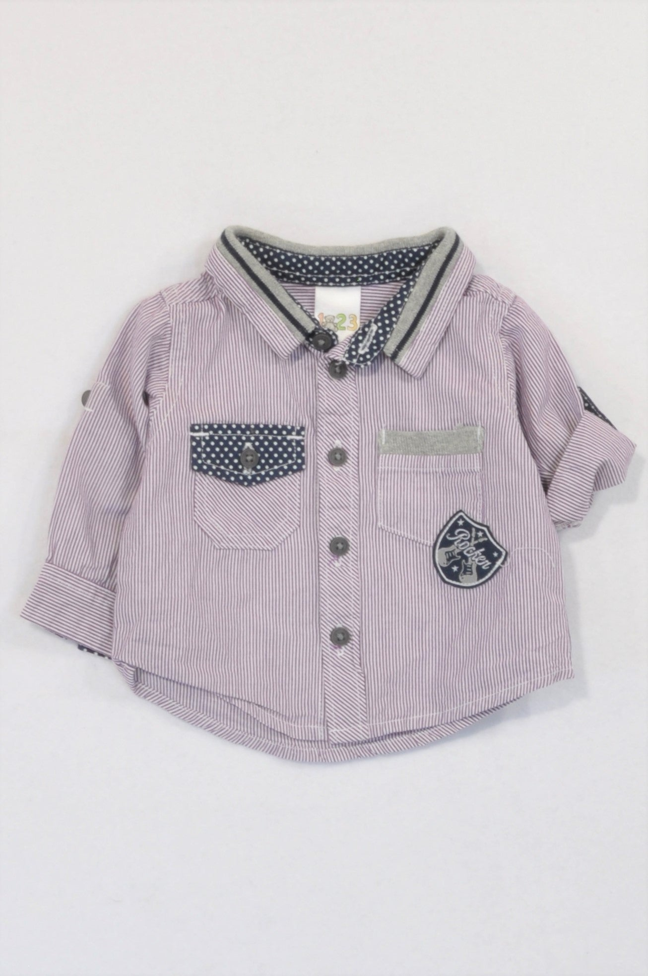 Edgars Purple Pinstripe Dotty Collar Shirt Boys 0-3 months
