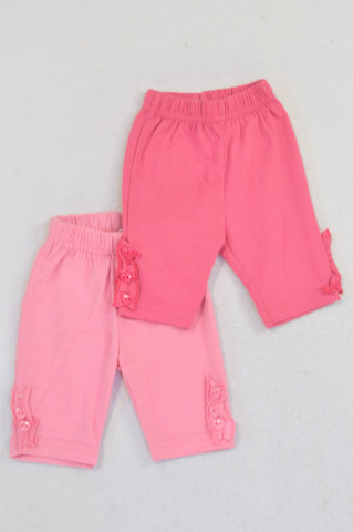 Ackermans 2 Pack Light & Dark Pink Button Frill Cropped Leggings Girls 0-3 months