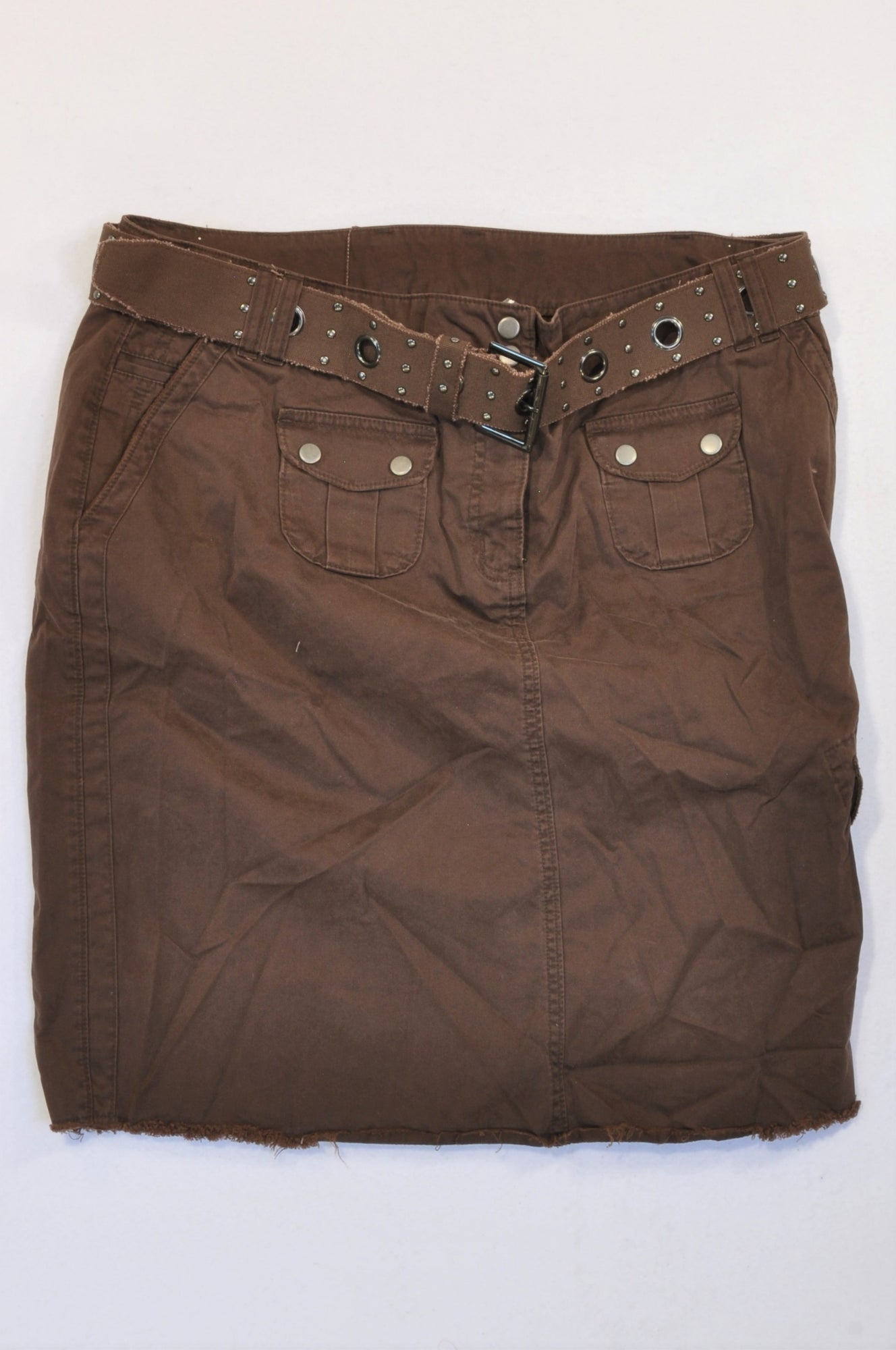 New Next Chocolate Brown Belted Cargo Skirt Women Size 20