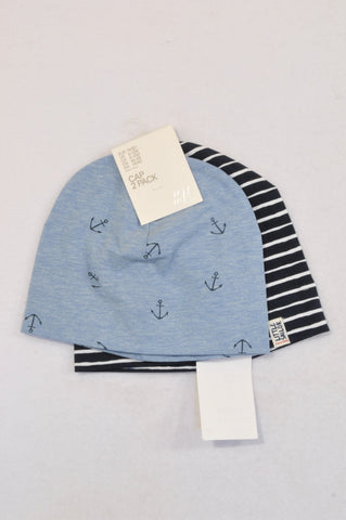 New H&M 2 Pack Blue Anchor & Navy Stripe Beanies Boys 6-12 months