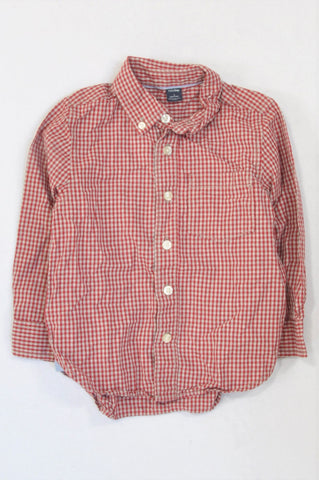 GAP Red & Grey Check Button Shirt Boys 3-4 years