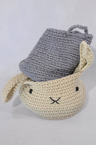 Next Grey & Beige Knit Bunny Baskets Decor Bundle Unisex N-B to 1 year