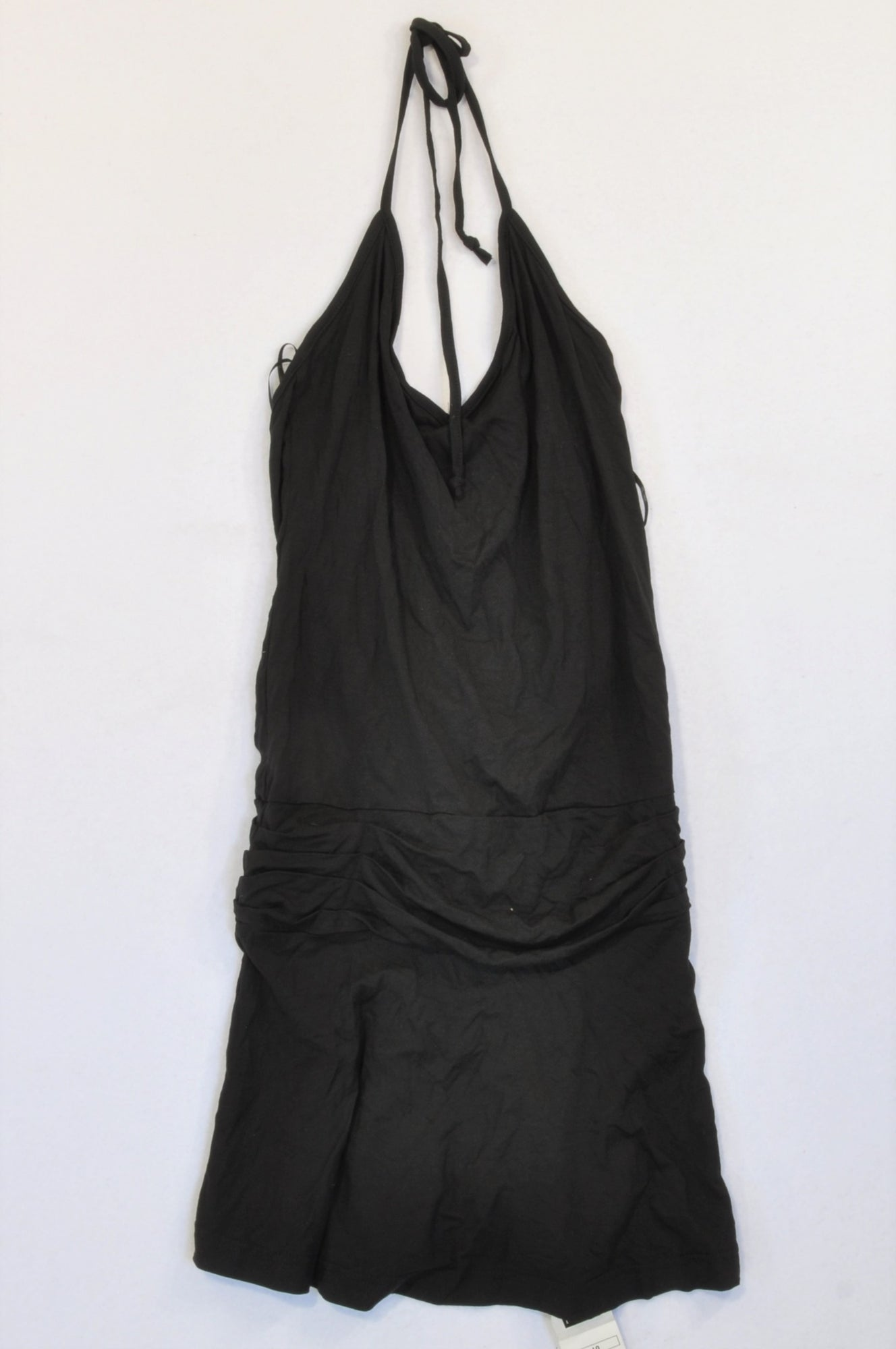 New Next Black Drop Pleat Waist Tunic Halter Top Women Size 10