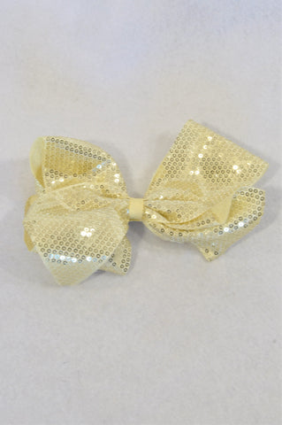 Unbranded Gold Sequin Big Bow Girls All Ages