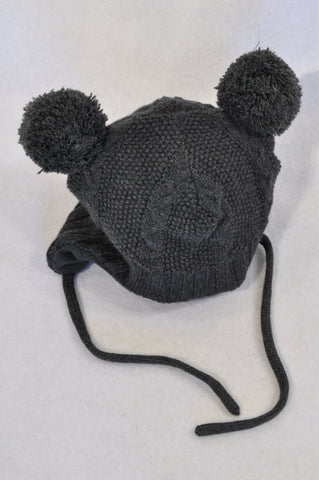 H&M Dark Grey Knit Fleece Lined Pom Pom Beanie Unisex 2-4 months