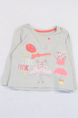 Mothercare Grey Feel Like Pink Today Mouse Bow T-shirt Girls 6-9 months