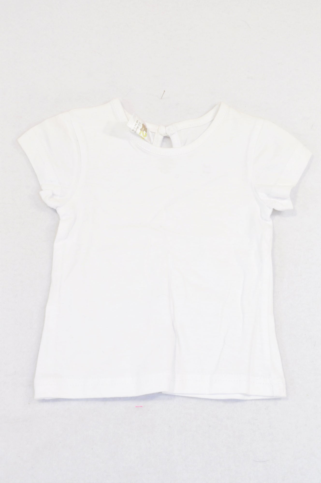 Edgars Basic White Keyhole T-shirt Girls 3-6 months