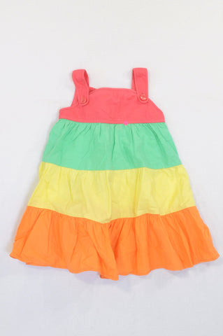 Mothercare Multi Color Panel Dungaree Dress Girls 12-18 months
