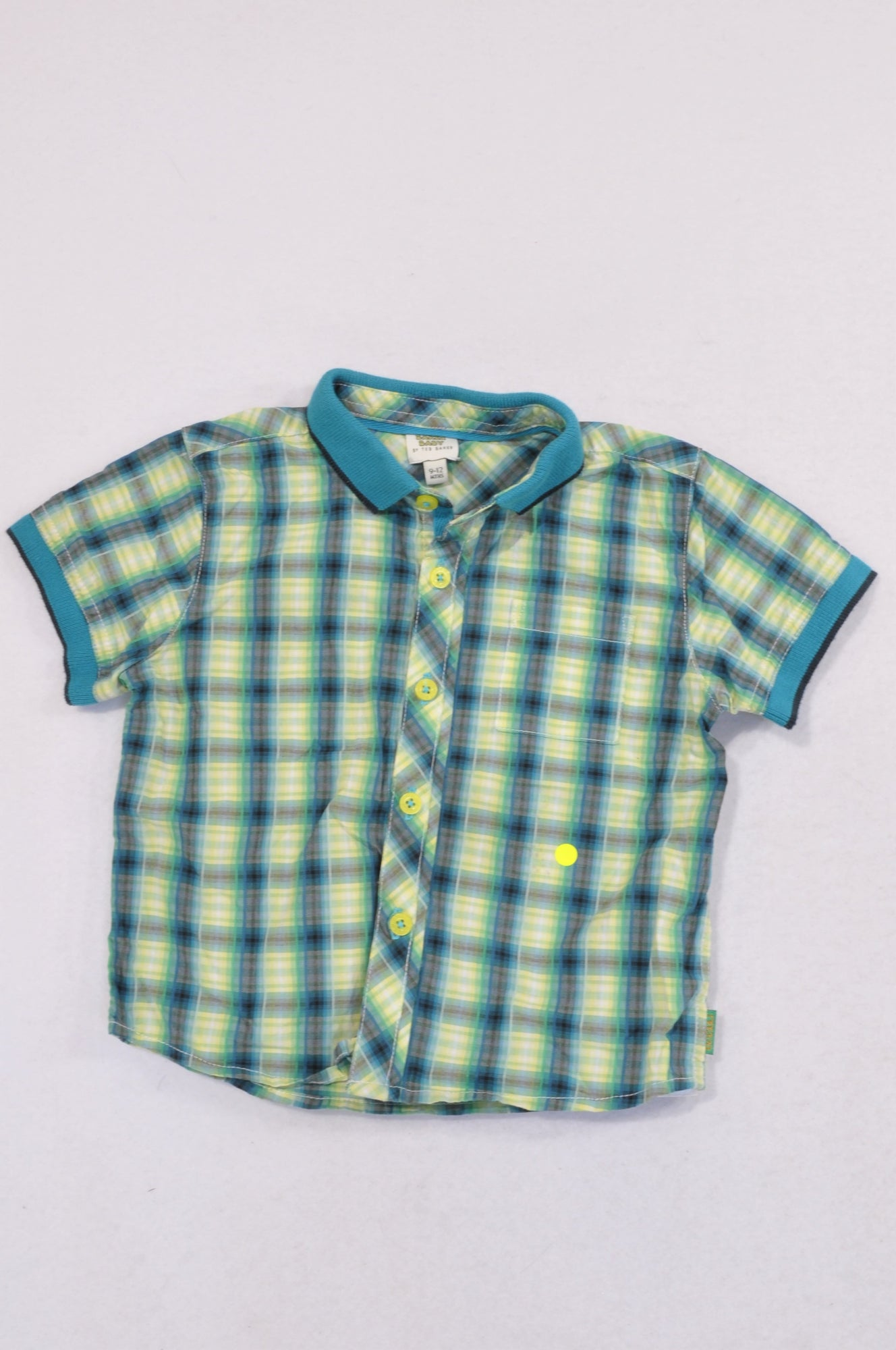 Baker Baby Lime & Blue Plaid Ribbed Trim Collared Shirt Boys 9-12 months