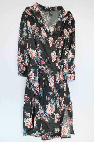 Donna Claire Black & Pink Flower Kimono Dressing Gown Women Size L