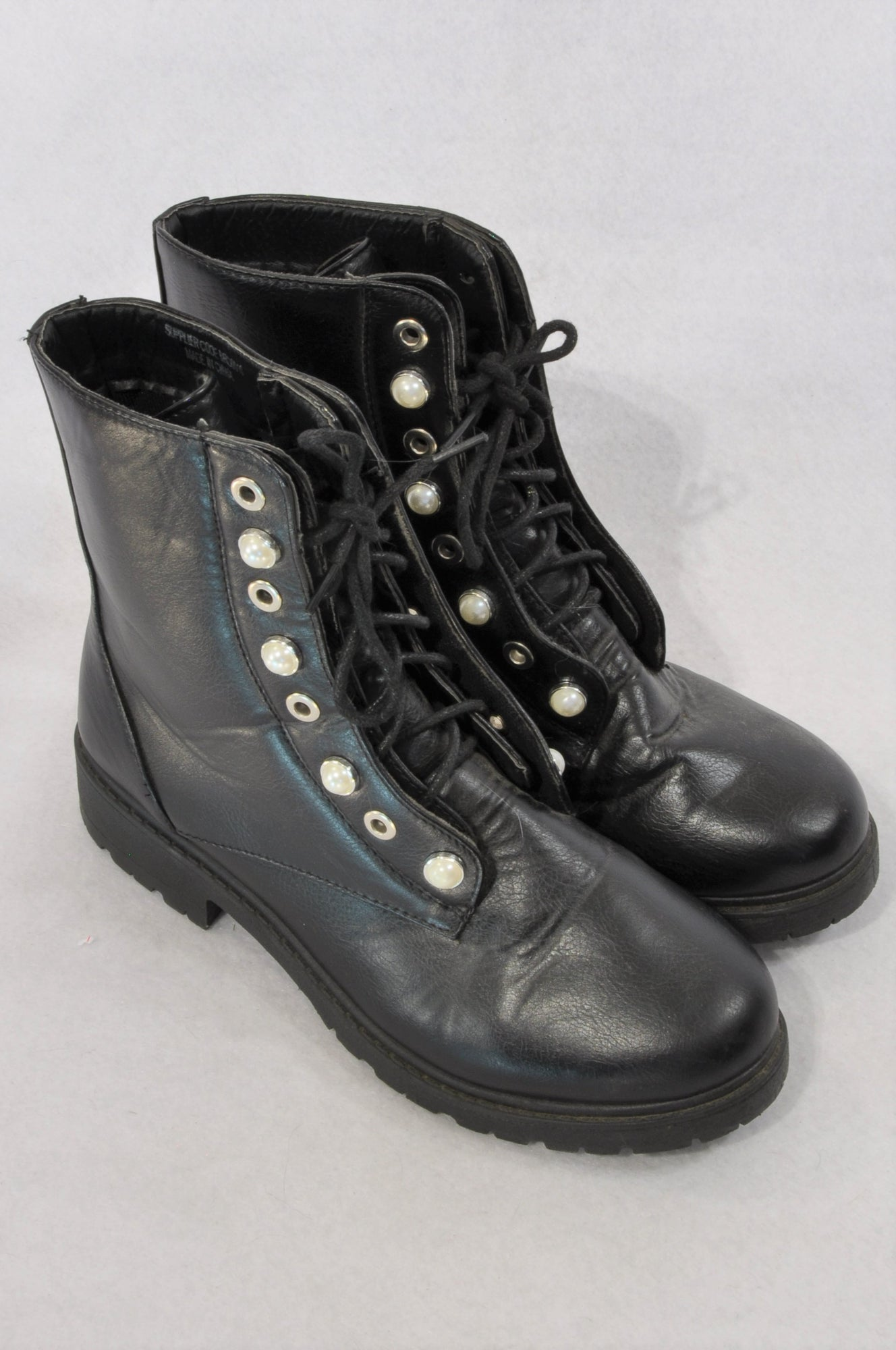 Mr. Price Black Pearl Detail Combat Boots Women Size 6