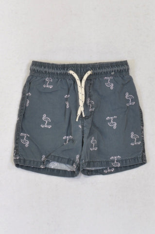 Cotton On Grey & Pink Flamingo Shorts Boys 3-4 years