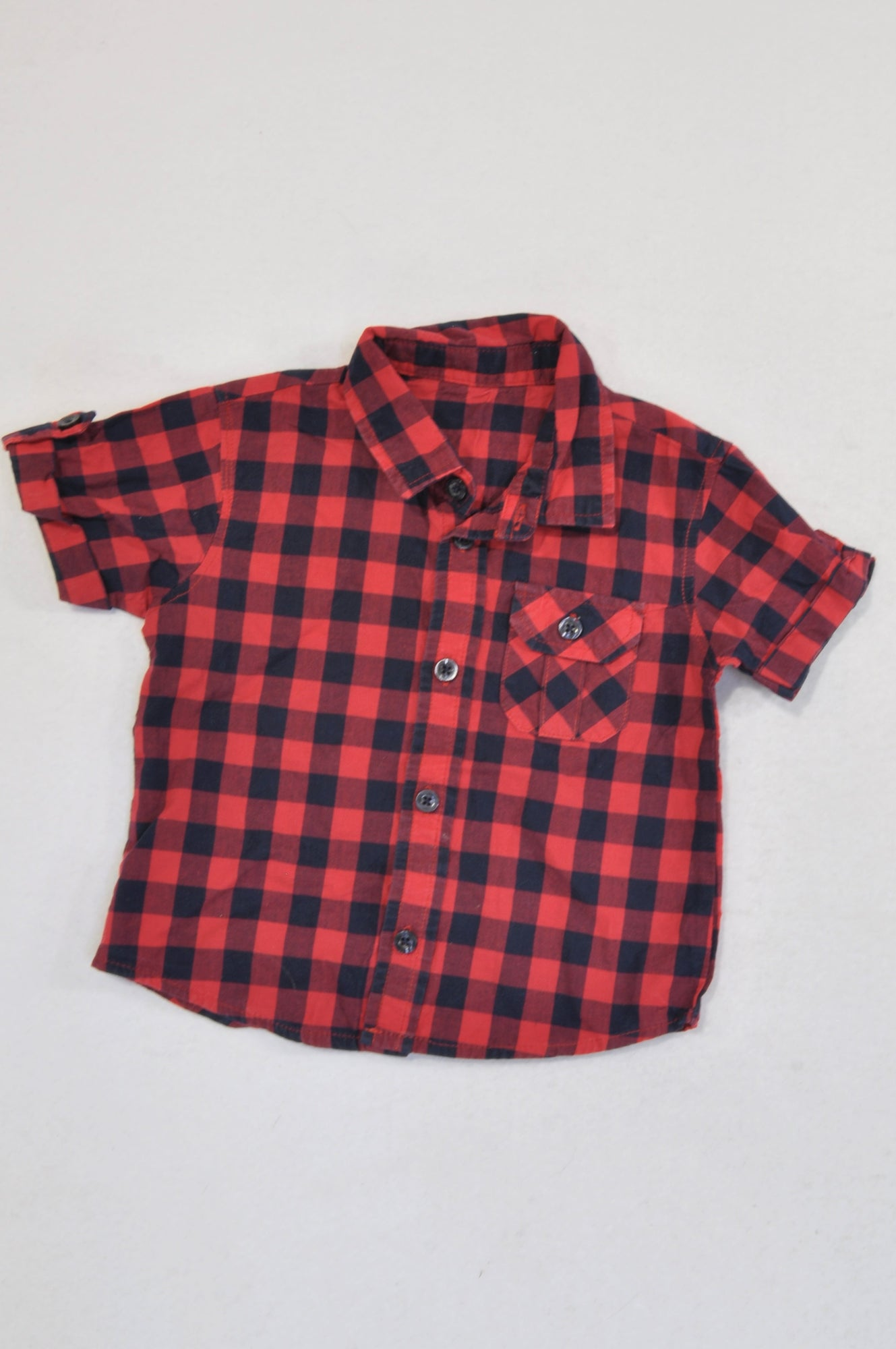Woolworths Red & Navy Check Cuffed Collared Shirt Boys 6-12 months