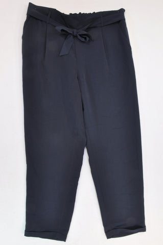 New Woolworths Navy Tie Office Lightweight Pants Women Size 16