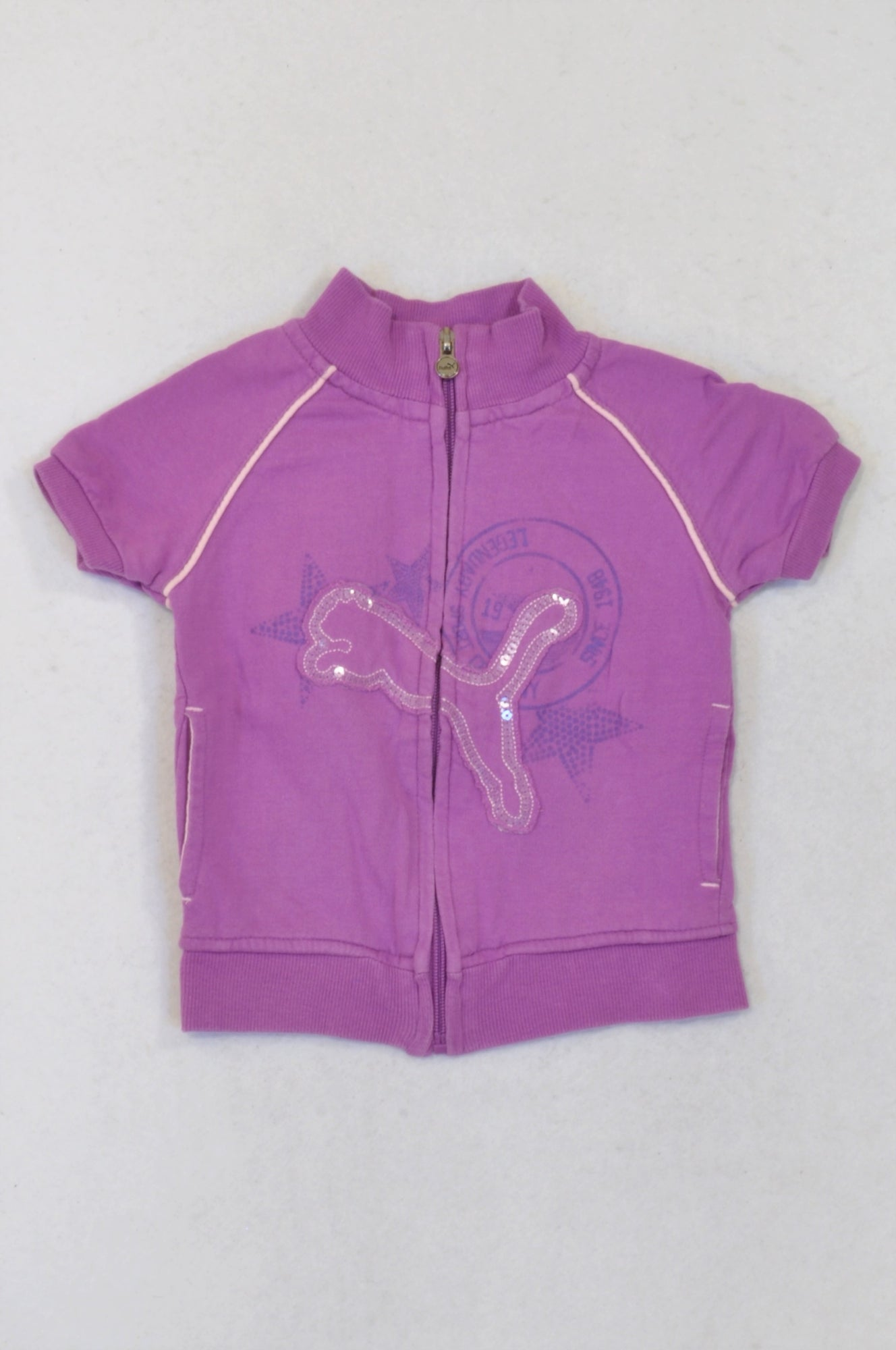 Puma Purple Sequin Detail Short Sleeve Jacket Girls 2-3 years